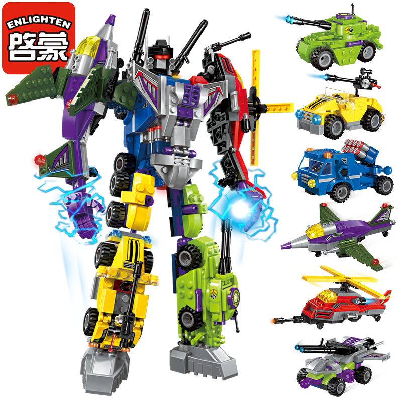 Enlighten Mecha Educational Building Blocks Toys Robot Transformer Helicopter Aircraft Army Car Destroyer Ares Tank(China (Mainland))