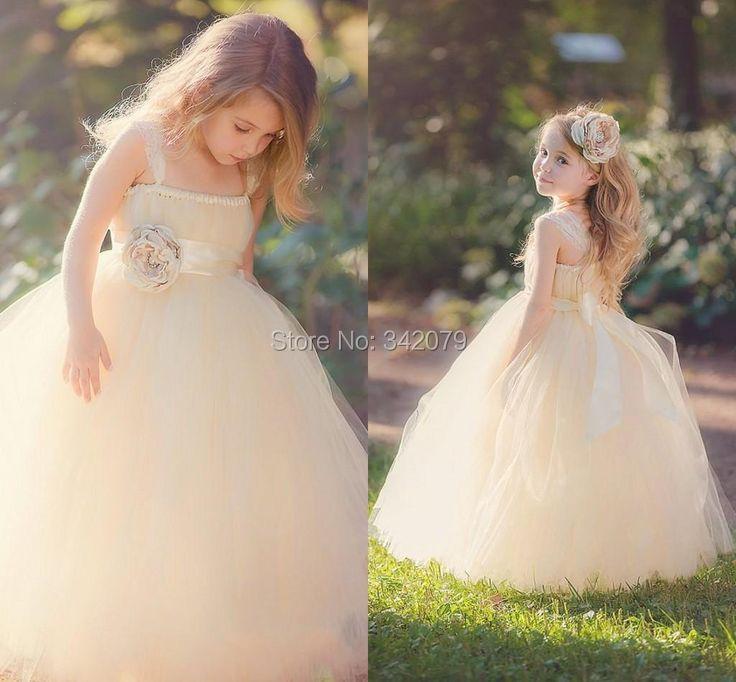 ph15661 Glitz 2015 Flower Girl Dresses Ball Gowns Dress Tutu Dress Champagne Little Girl's Pageant Kids Dresses For Girls Cheap(China (Mainland))
