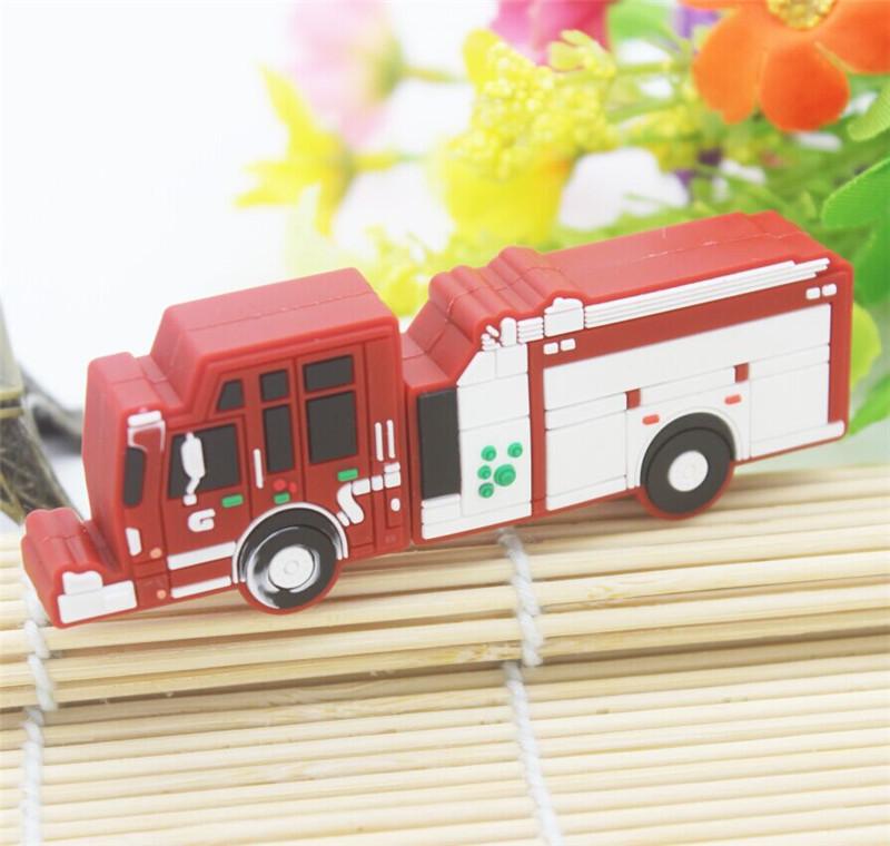 Hot cartoon pendrive fire truck usb flash drive Fire engine pen drive u disk 4GB 8GB 16GB 32GB flash memory sticks free shipping(China (Mainland))