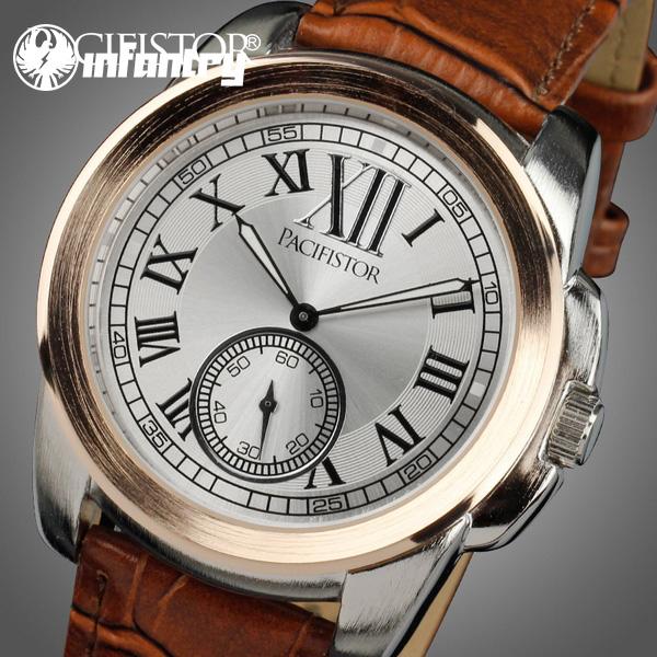 INFANTRY Men's Quartz Wrist Watch Fashion Luxury Roman Numerals Dial Black Brown Leather New(Hong Kong)
