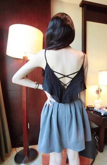 Squared normic all-match fashion beautiful strap racerback sleeve ruffle spaghetti strap small vest h07