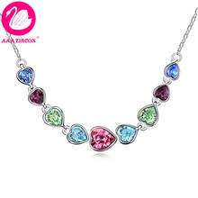 Quality Women's Multicolor Full Hearts Crystal Wedding Necklace Made With Swarovski Elements, Come With A Necklace Box! (9326)(China (Mainland))