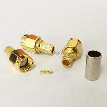 RP-SMA Conector Macho RF Coaxial Conector de crimpar RG58, RG142, RG400, LMR195 Recta Goldplated NUEVA venta al por mayor