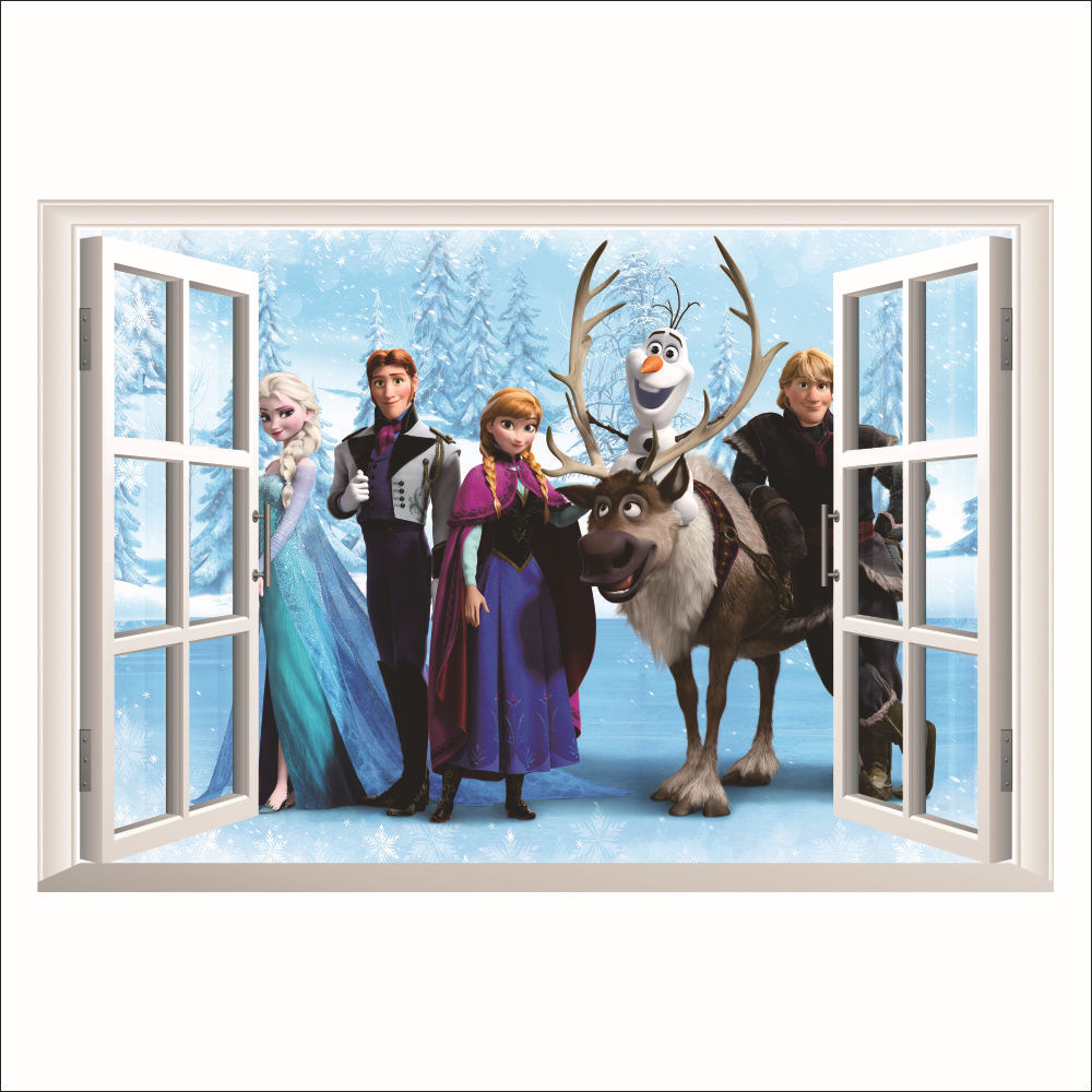 1418& 3D beautiful DIY snow queen princess girls gift bedroom home decor PVC wall stickers living room Kids Room decor Frozen(China (Mainland))