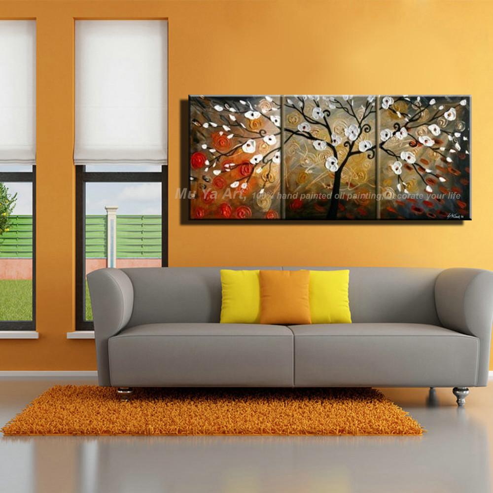 Buy Large Abstract modern 3 piece oil knife painting canvas Flower tree handmade painting sets for living room pictures decoration cheap
