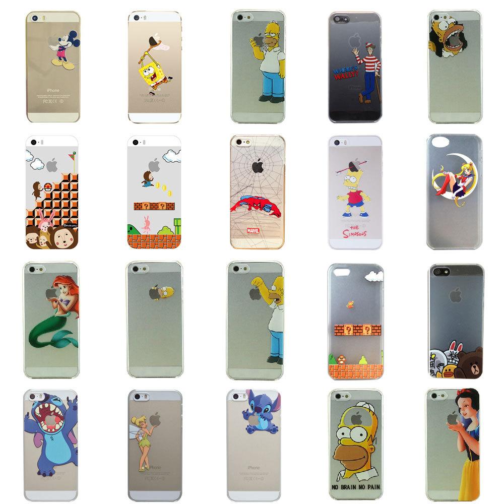 Hot Sale 17 Styles Transparent SpongeBob Sailor Moon Stitch Case Cover for iPhone 5 Plastic Hard Phone Cases Cover for iPhone 5s(China (Mainland))