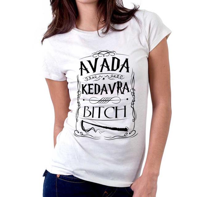 Гарри поттер заклинание Avada Kedavra мастер женщины футболки письмо печать Avada Kedavra рубашки Avada Kedavra футболки