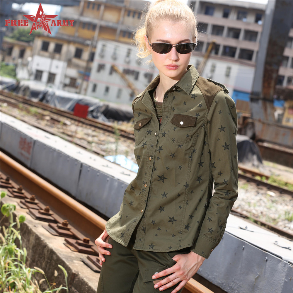 High Quality women shirts summer Casual Cotton Long Sleeve Pocket Decoration Turn-down Collar women clothes GS-8203(China (Mainland))