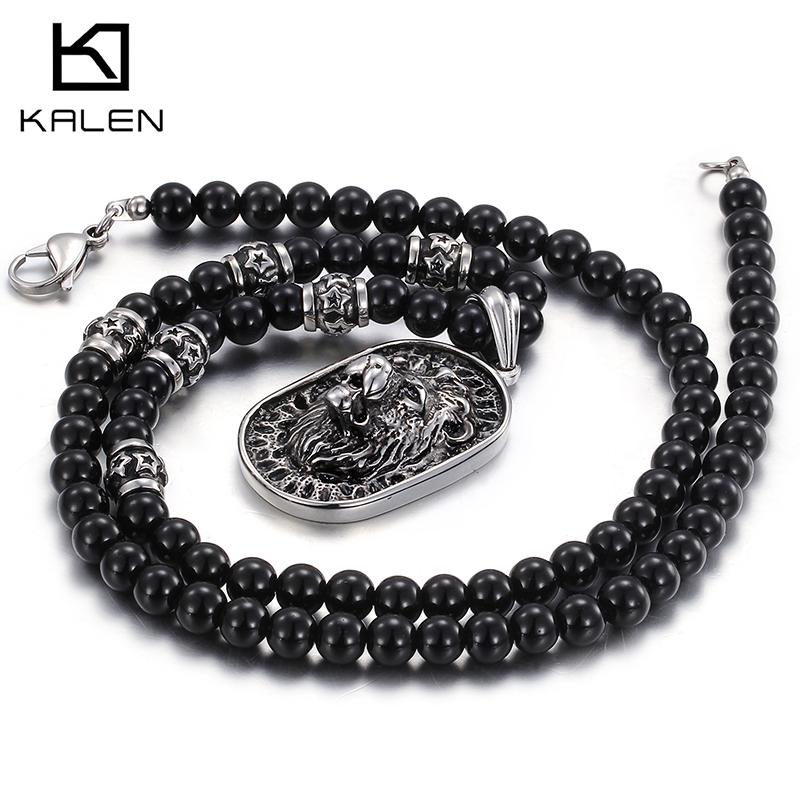 China jewelry manufacturer Kalen newest glass beaded stainless steel lion head pendant statement mens ecklacecollar de ellos(China (Mainland))