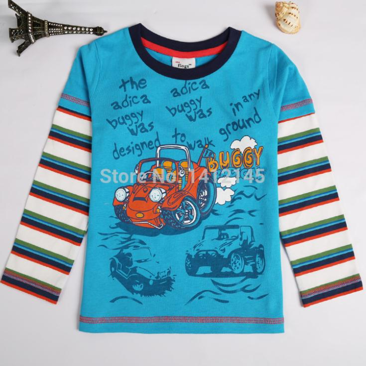 NOVA Sma-flags new 2014 boy kids cotton casual t shirt children long sleeve clothing baby cartoon wear T2116