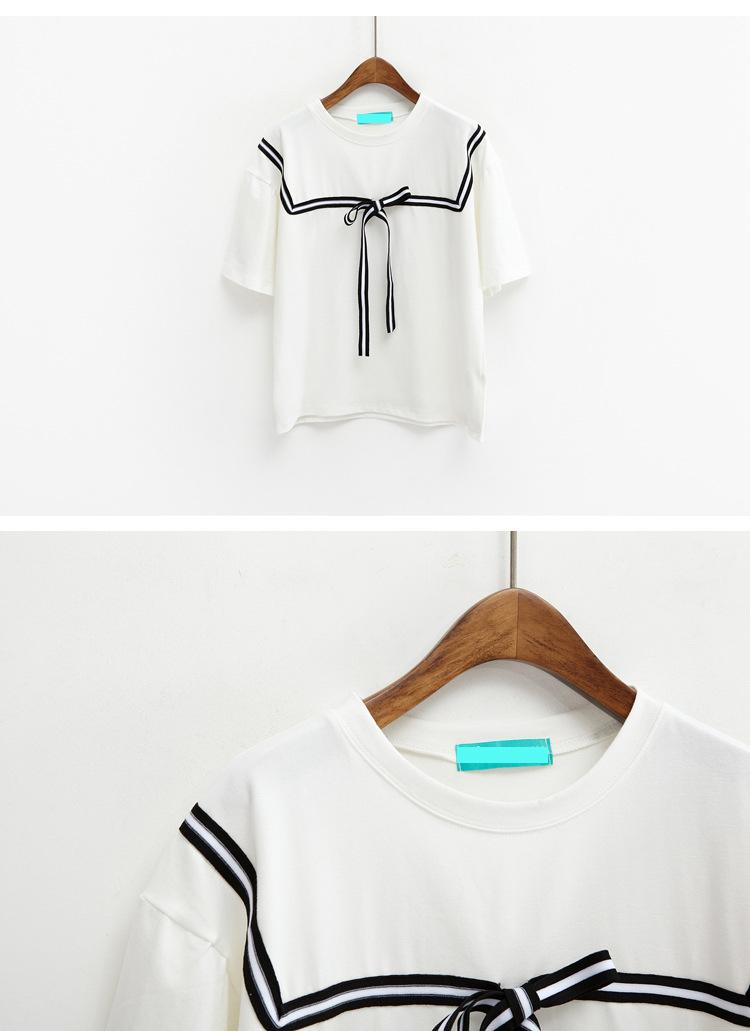 2016 New Korean Institute Wind Women T-shirt Cute Bow Striped Sailor Shirt Lady Girls Kawaii Summer Loose Short Sleeve T Shirt