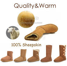 Australia Brand Ankle High Fur Sheepskin Snow Boots Genuine Leather Womens For Men Large Winter Plus Big Size 10 11 12 43 44 45(China (Mainland))