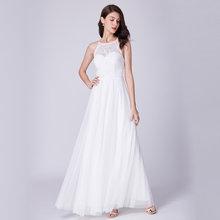 אי פעם די זול שיפון שמלות כלה קו אלגנטי V צוואר אבוקה שרוול ארוך חוף כלה שמלת 2019 גלימת דה mariee EP09890WH(China)