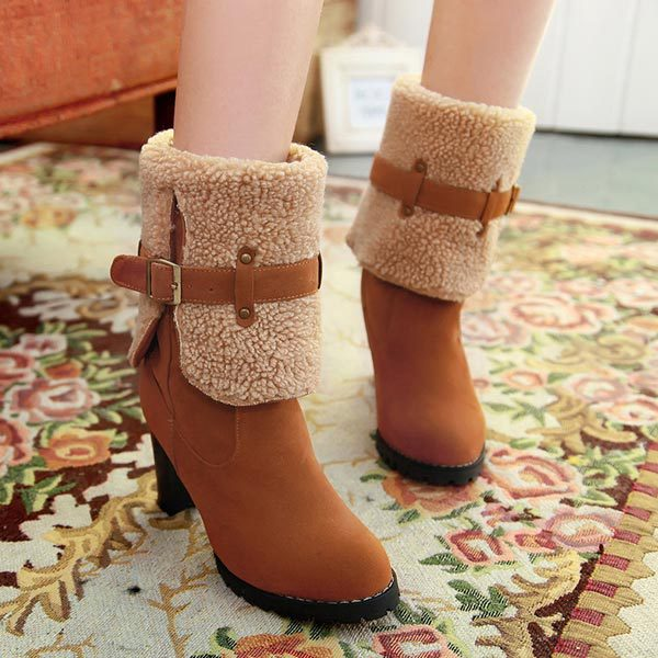Фотография 2014 ladies Winter Medium canister Boots Thick high heel Mid-Calf snow boots fashion Buckle fur boots can fold Two styles boots