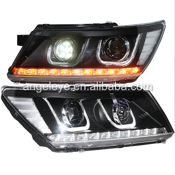 For Dodge Journey JCUV Fiat Freemont U Style double color LED HeadLamps front light Headlights + LED High Beam 2009-2014(China (Mainland))