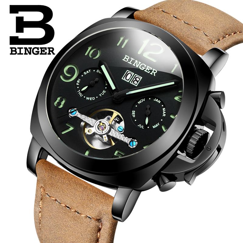 Genuine Swiss BINGER Brand Men automatic mechanical luminous waterproof sports Chronograph calendar military male watch big dial(China (Mainland))