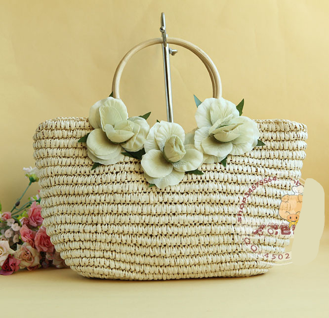 40X25CM Dutch style Element model clamp clasps twine three flowers straw bag cane makes up natural handle A2317(China (Mainland))