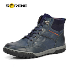 SERENE Men Shoes Nubuck Leather Ankle Boots Lace-Up Flats Collision Avoidance Skid Martin Boots Ckukka Winter Botas Big size3212(China (Mainland))