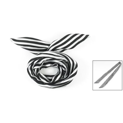 NEW White/Black Women Striped Print Fabric Coated Wire Hair Scarf HeadBand(China (Mainland))