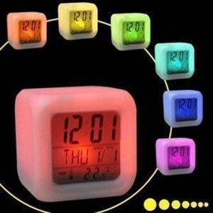 DHL free shipping 7 LED Color Change Glowing Digital Alarm Thermometer Clock