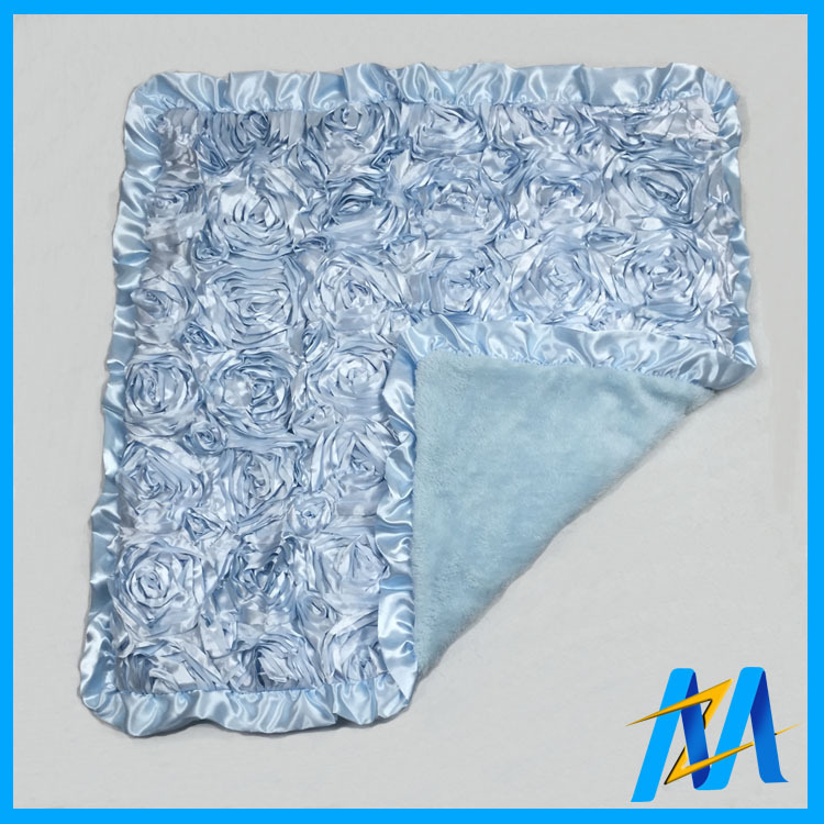10Pcs/Lot New Design Lt.Blue Baby Blankets Newborn 3D Rosette 8 Colors To Pick Minky Baby Blanket for Stroller Swaddle Free DHL(China (Mainland))