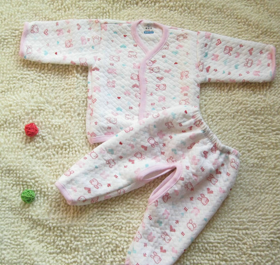 free shipping Thickening thermal set autumn and winter baby thermal underwear baby 100% cotton underwear thickening underwear tt(China (Mainland))