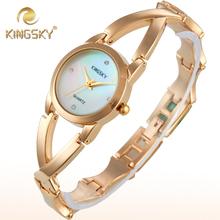 Mujeres del cuarzo reloj de pulsera de lujo Kingsky oro aleación analógico banda de ronda señora unisex vestido reloj
