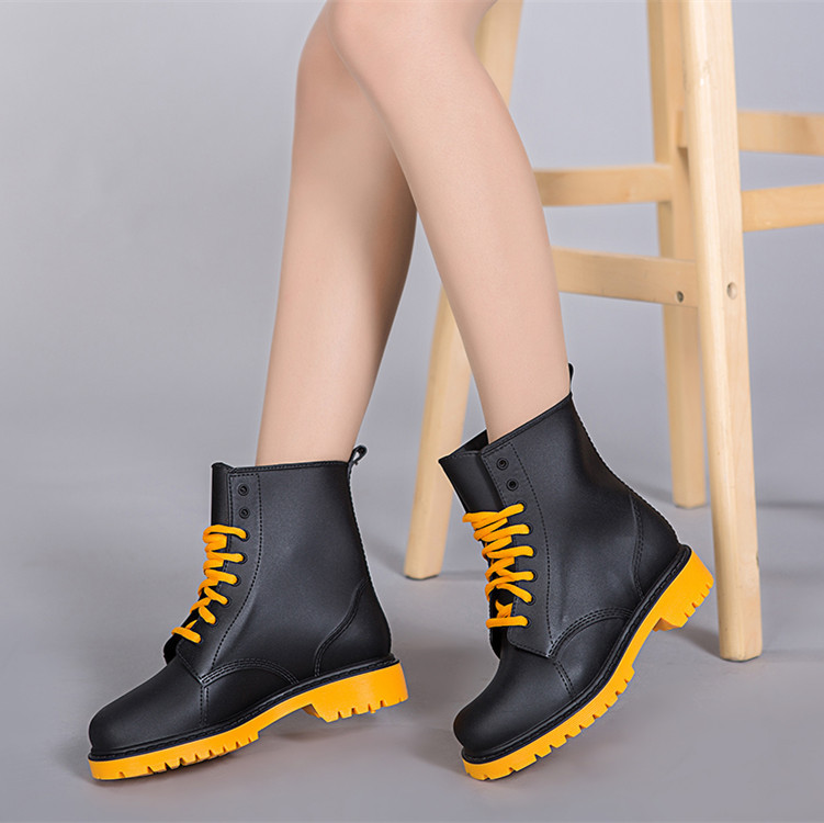 Fashion 2016 Women Rain Boots Rubber Lace Up Women Ankle Boots Waterproof Casual Comfort Ladies Martin Boots Shoes(China (Mainland))