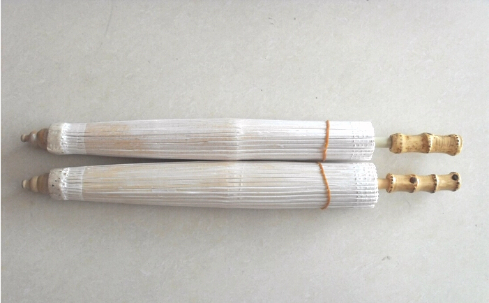 Free shipping 60*42cm White Oil Paper Parasol Bridal Traditional Wood Rib Party/Ceremony Crocheted Umbrella Accessory Decor(China (Mainland))