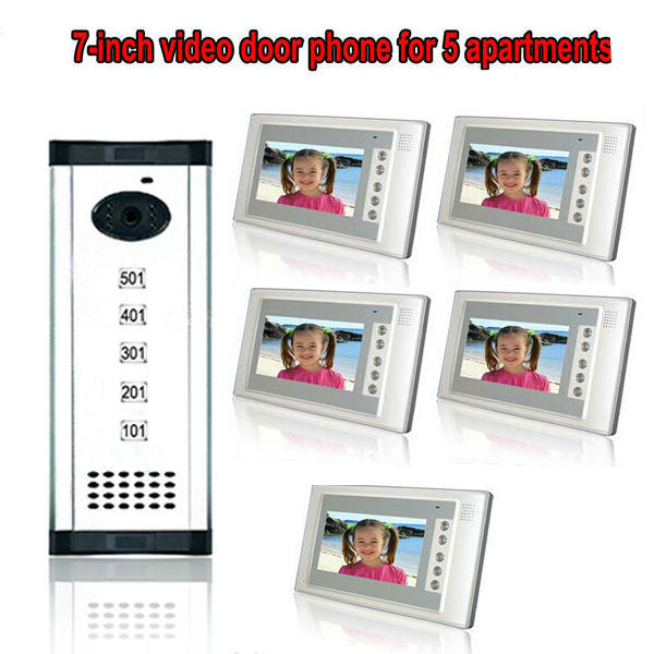 Free shipping 7 inch TFT Display wired video door phone 5 apartments intercom system for villa high definition camera monitor(China (Mainland))