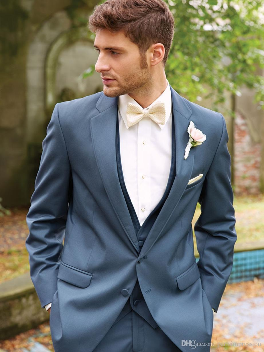 New Arrival formal blue wedding suits for men side vent notched lapel best men tuxedos two buttons trim fit groomsmen suitsОдежда и ак�е��уары<br><br><br>Aliexpress