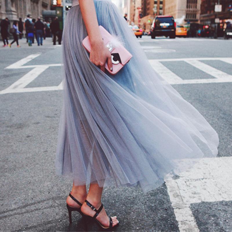 New 2016 Fashion Women Retro gauze font b High b font elastic font b waist b