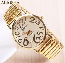 Aliosha nuevo oro de la llegada de ginebra del reloj para para mujer mujeres viste el reloj relojes de cuarzo reloj grande del número