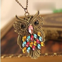 $10 (mix order) Free Shipping 2013 New Fashion Vintage Retro Owl Sweater Chain Pendant Necklace Alloy Necklace N4086 16g(China (Mainland))