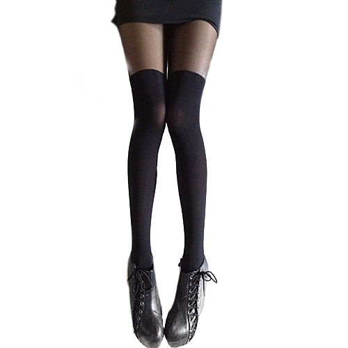 Sexy Black Gipsy Mock Ribbed Over the Knee High Pantyhose Hose Stockings Women Retail/Wholesale 54AG(China (Mainland))