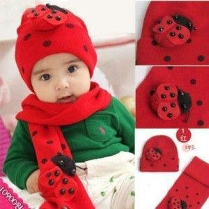 Warm winter    baby hat scarf two-piece   Beetle models