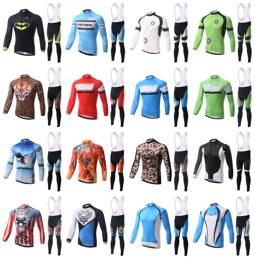 2015 New Fashion Cycling Jerseys Suits Bib Long Sleeve Winter Mens Bike Bicycle Sports Ride Shirts Pants - Tobe The Best store
