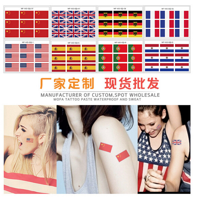 10pcs/lot 2016 Multi style Tattoo Sticker World Cup flag Waterproof disposable color water transfer stickers(China (Mainland))