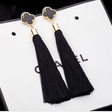 2015 long thread ribbon rope tassel earrings for women vintage jewelry 18k gold luckly clover big drop four leaf clover earrings(China (Mainland))