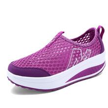 Women Summer Wedges Platform Sandles Mesh Breathable Loafers Ladies Single Shoes Spring Boat Shoes