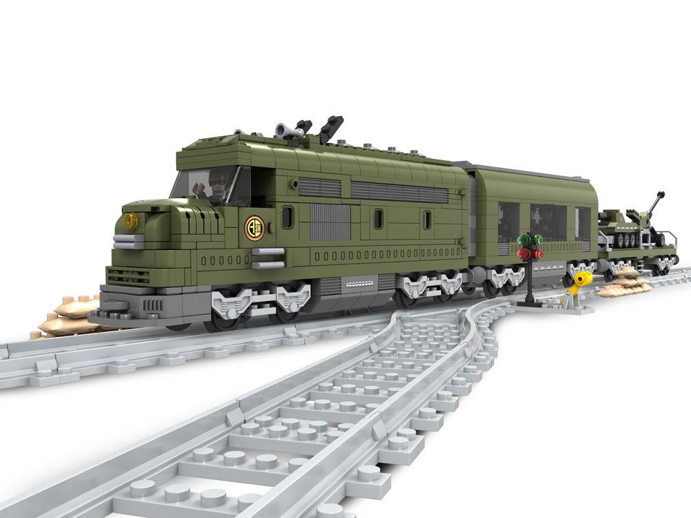 Building Block Sets Compatible lego MILITARY TRAIN 763D Construction Bricks Educational Hobbies Toys Kids