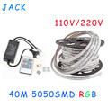 sale 40M 110V 220V High Voltage SMD 5050 RGB Led Strips Lights Waterproof IR Remote Control