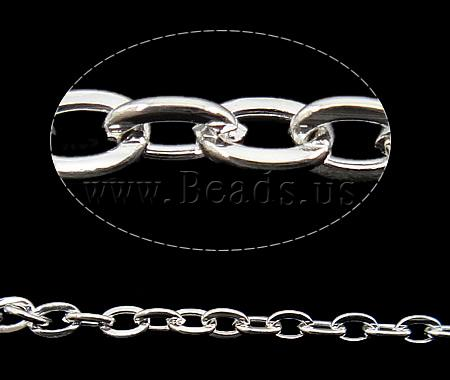 Free shipping!!!Iron Oval Chain,Jewelry Brand, silver color plated, nickel, lead & cadmium free, 2.80x4x0.70mm, Length:100 m