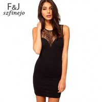 New Women's Sleeveless Sexy Lace Splicing Deep V Back Slim Mini Dress Black 24