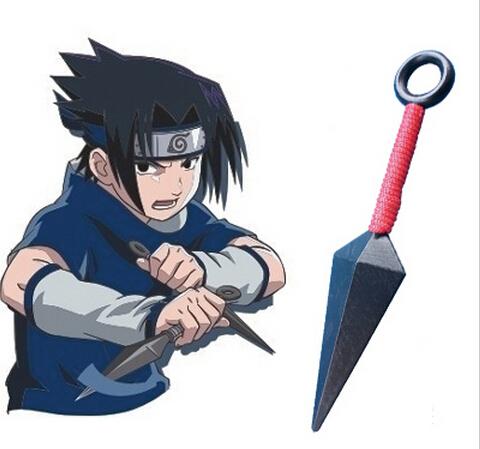 (13 cm/PVC material) Free shipping 10 pieces/lot Naruto Uchiha Sasuke Red Kunai Anime Cosplay was Accessory(China (Mainland))