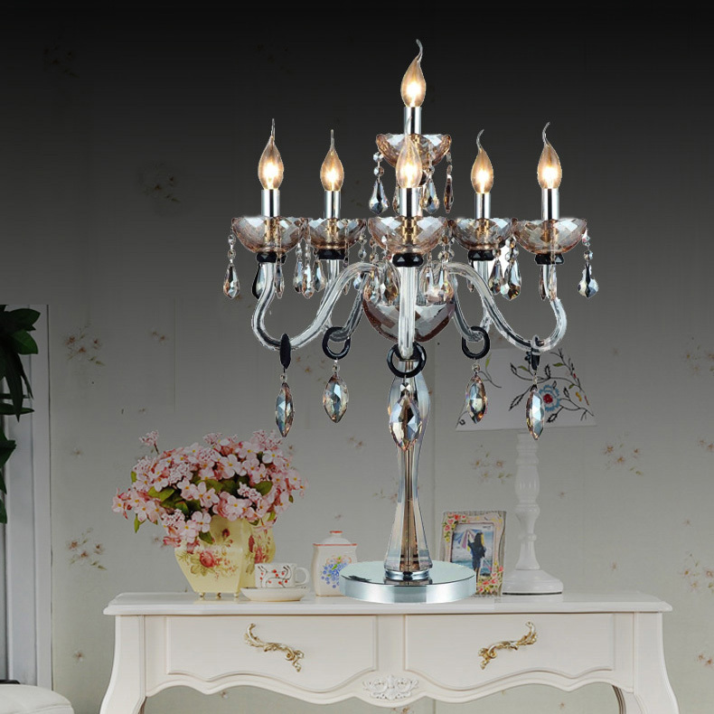 Large Crystal Table Lamp Party Candle Holder Interior