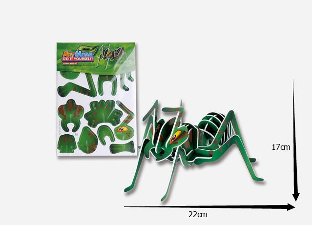 3D puzzle 2016 new kids educational toys dimensional puzzle ant DIY 3D jigsaw for children animal insects series jigsaw 007-2(China (Mainland))