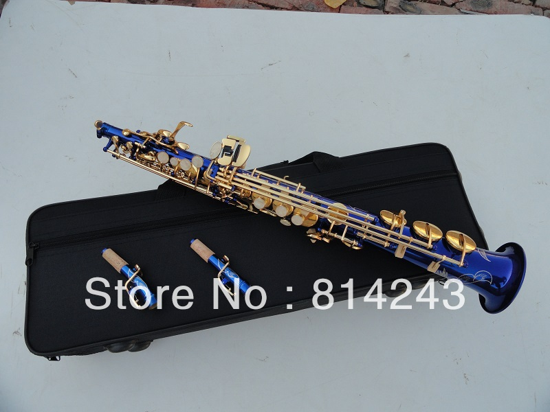 Wholesale sales  Professional soprano saxophone B surface gold-bonded blue<br><br>Aliexpress