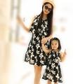 Summer FAMILY Floral sleeveless Dresses Woman Girl Black dress Kids Girls Party Vest dress