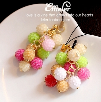 free shipping Accessories jelly candy color acrylic sparkling diamond mobile phone chain mobile phone dust plug pendant